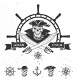 Pirate emblem and design elements vector image