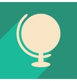 Flat with shadow icon and mobile application globe vector image