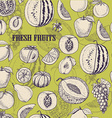 Seamless pattern with fruits on light green vector image
