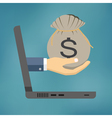 Hand holding bag with money vector image