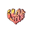 big heart with lettering - i love you typography vector image