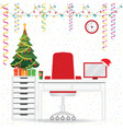 christmas and new year in modern office workplace vector image