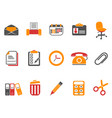 orange office and documents icons set vector image
