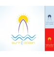 Set of surfing emblems with uneven line vector image