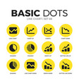 line chart flat icons set vector image