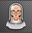 bald scientist avatar retro realistic helmet 3d vector image vector image