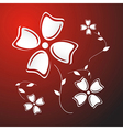 Abstract White Paper Flowers on Red Background vector image vector image