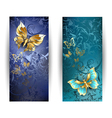 Two Banners with Gold Butterflies vector image vector image