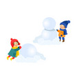 boy girl having fun making snowman isolated vector image
