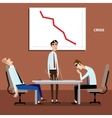 Businessmen on meeting with negative graph vector image