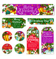 christmas winter holiday tag of new year gift vector image