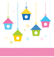 Cute spring colorful Bird houses set - vector image