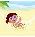 girl lying in hammock vector image