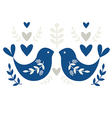 Traditional Folk Motif with Blue Birds vector image