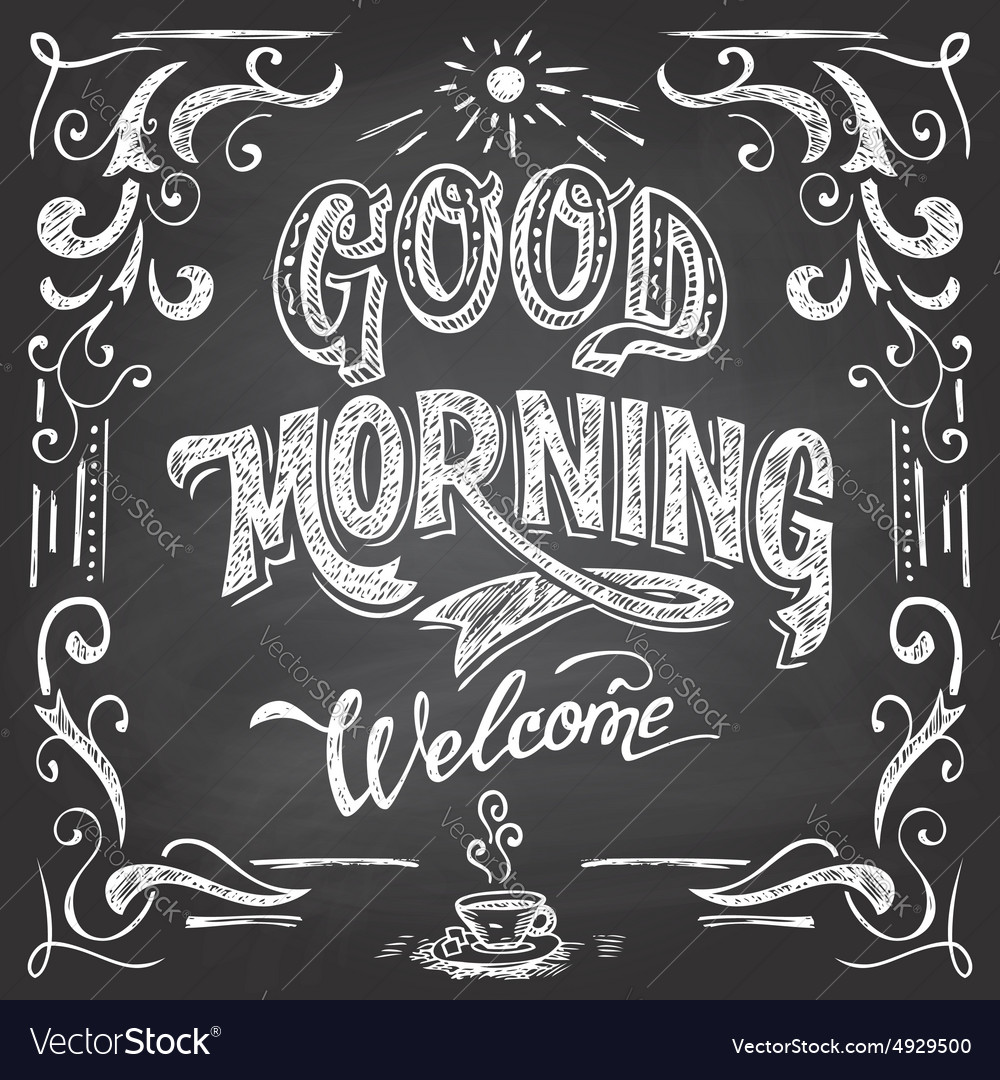 Good morning cafe chalkboard vector