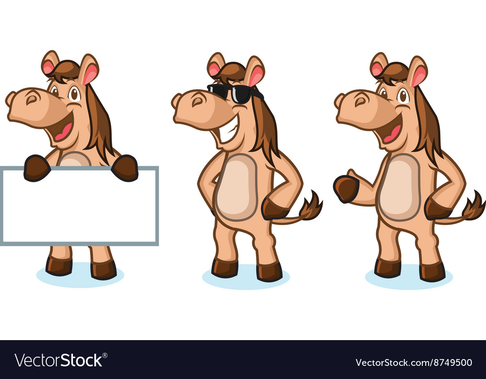 Light brown horse mascot happy vector