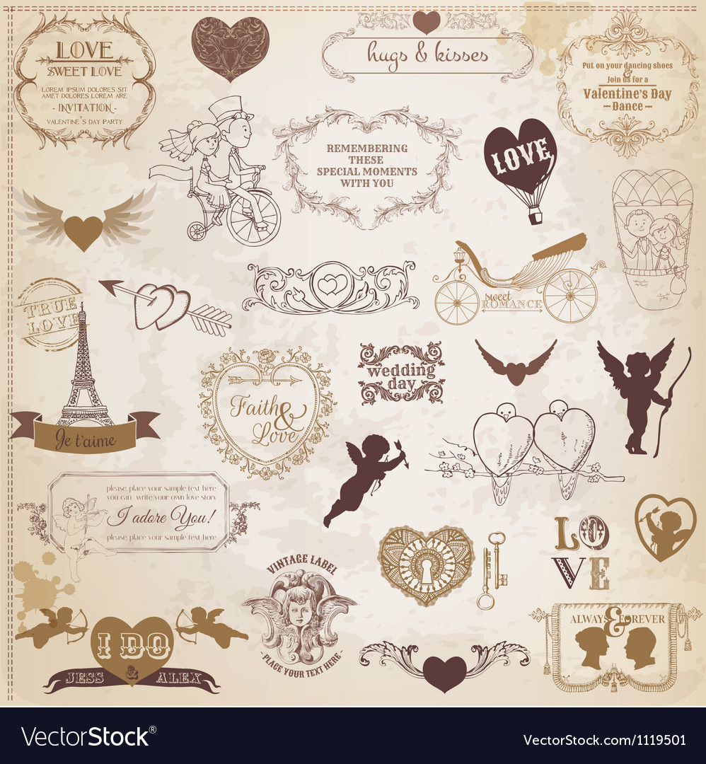 Vintage love valentine day design elements vector