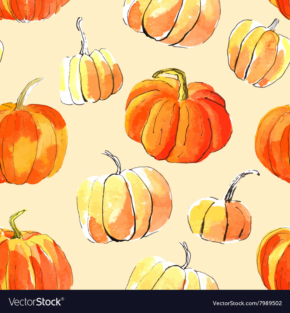 Watercolor halloween of pumpkins vector