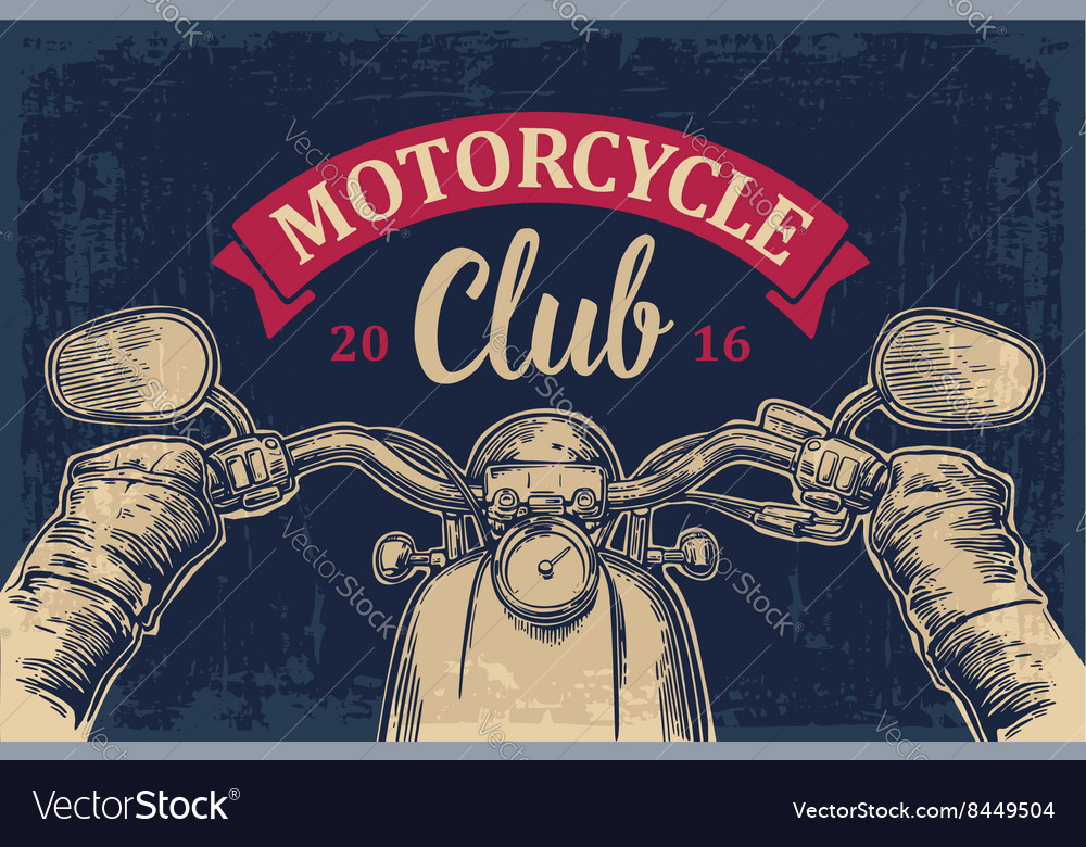 Biker driving motorcycle rides road trip view vector