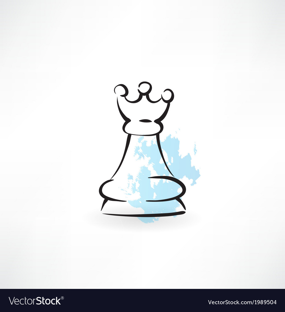 Chess queen grunge icon vector
