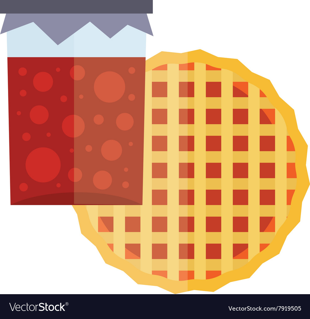 Fruity natural jar of jam and fruit pie cartoon vector