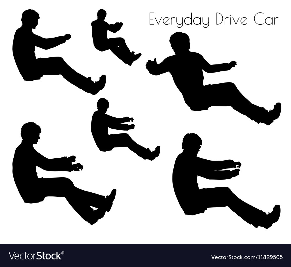 Man in driving car pose vector