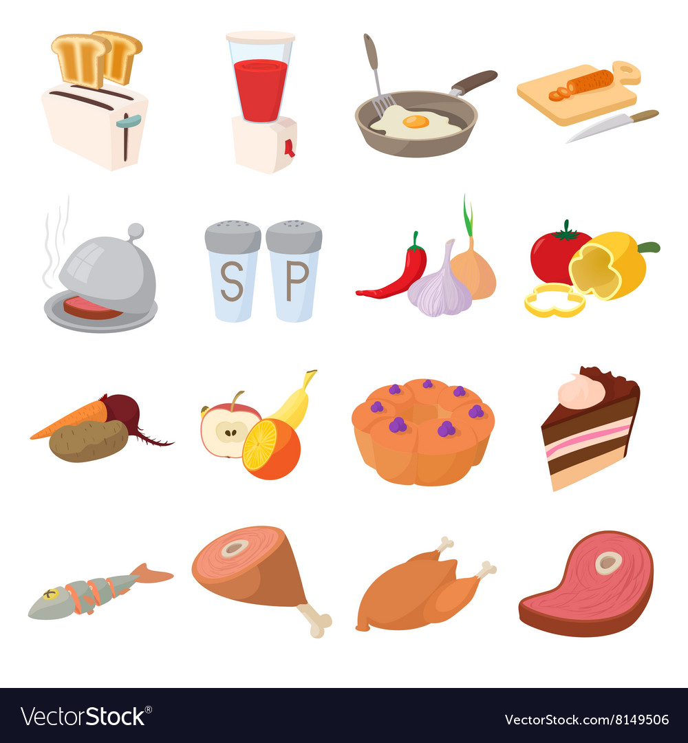 Food icons set cartoon style vector