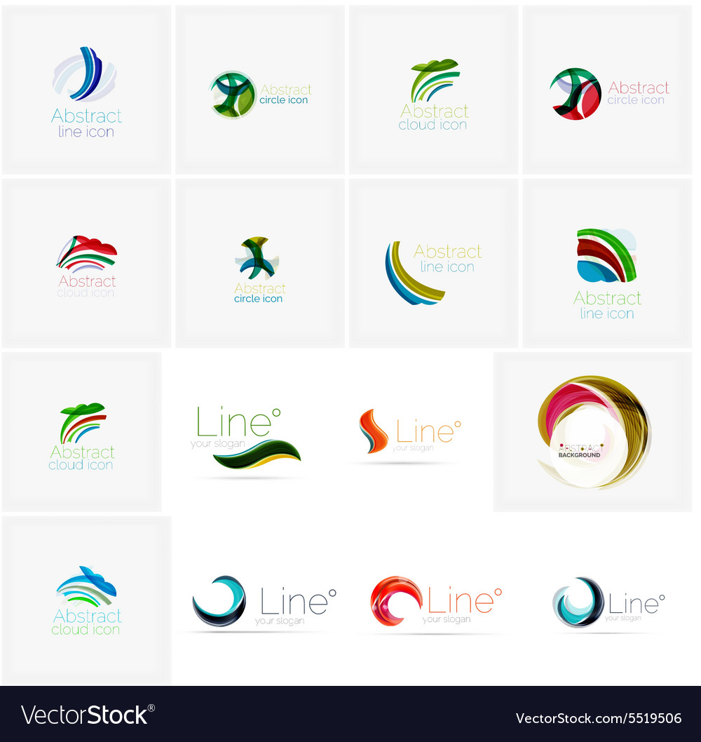 Set of abstract wavy elements circles swirls and vector