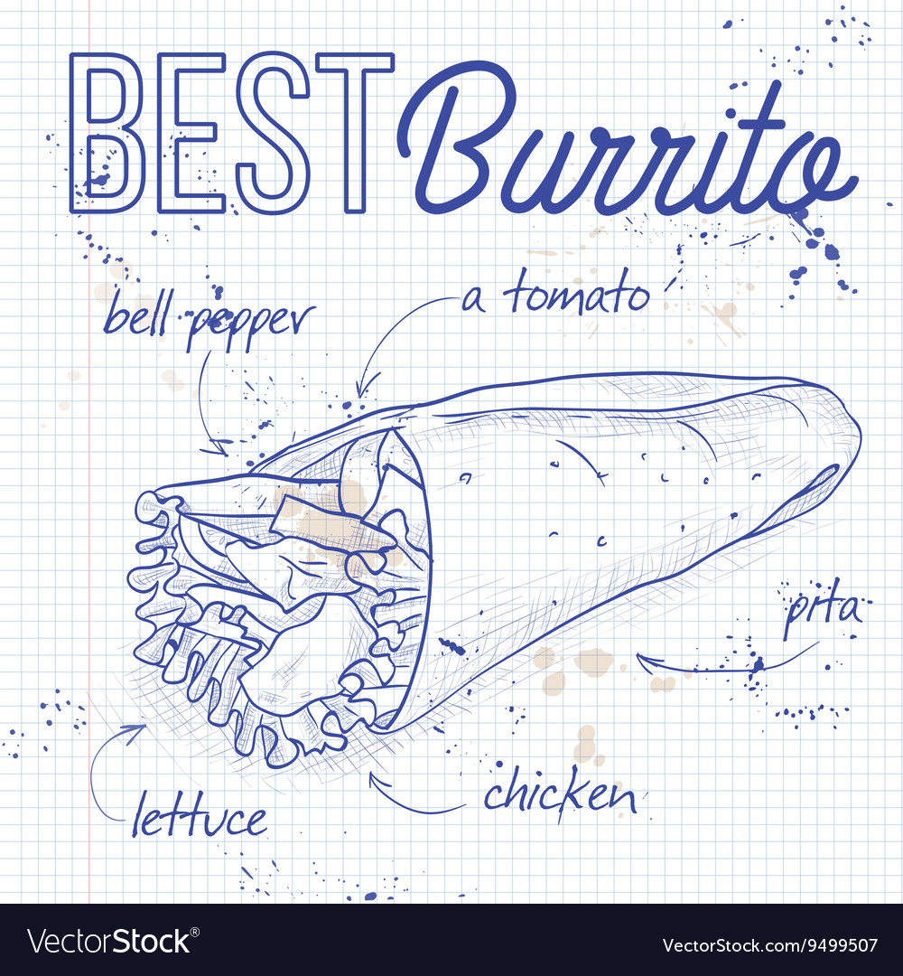 Burrito recipe on a notebook page vector