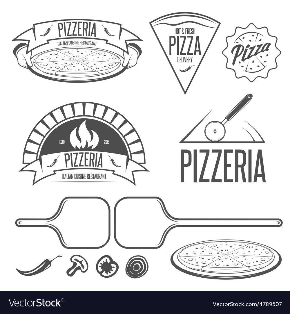 Pizza labels badges and design elements vintage vector