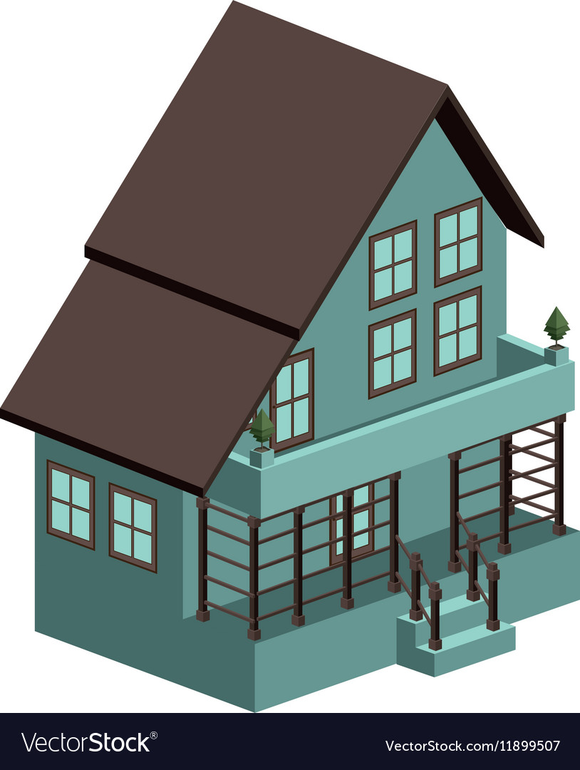 Silhouette colorful house with three floors vector