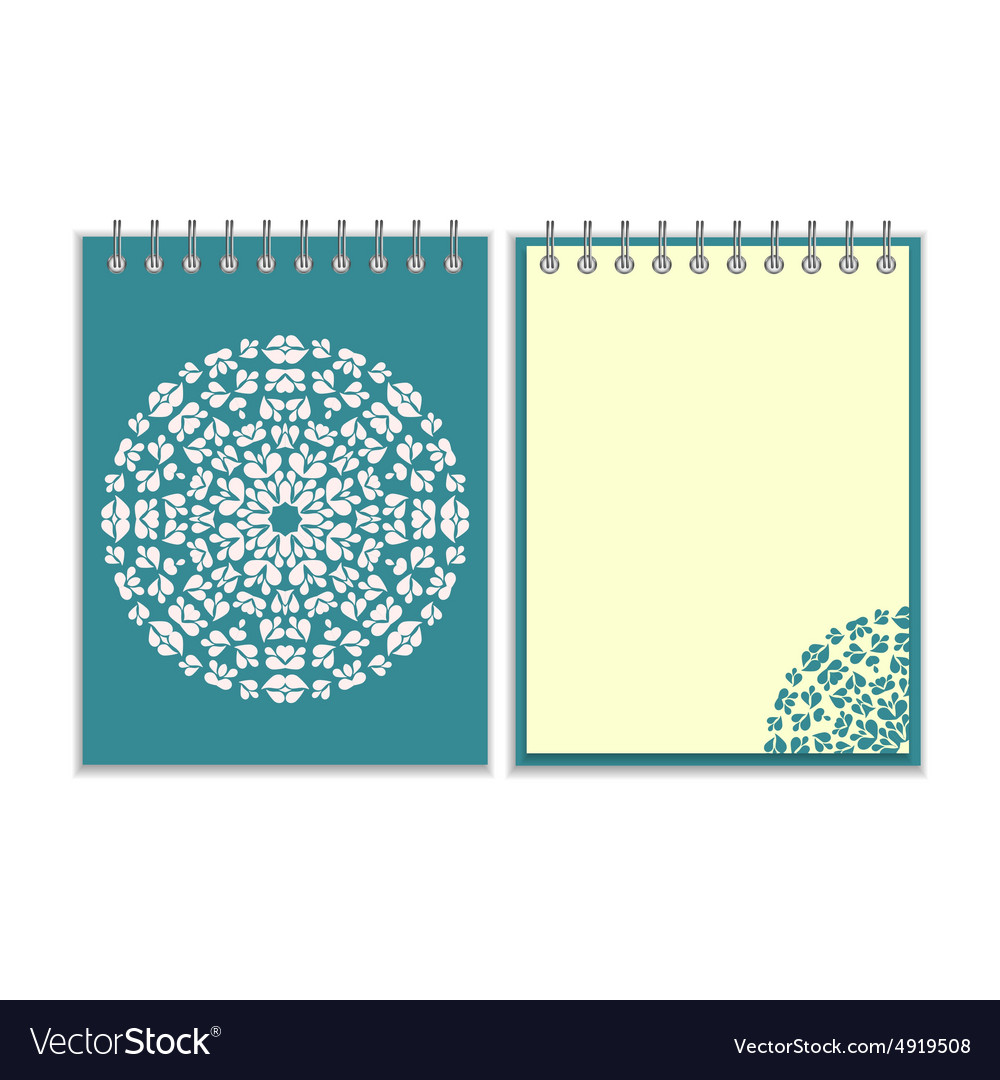 Blue cover notebook with round pattern vector