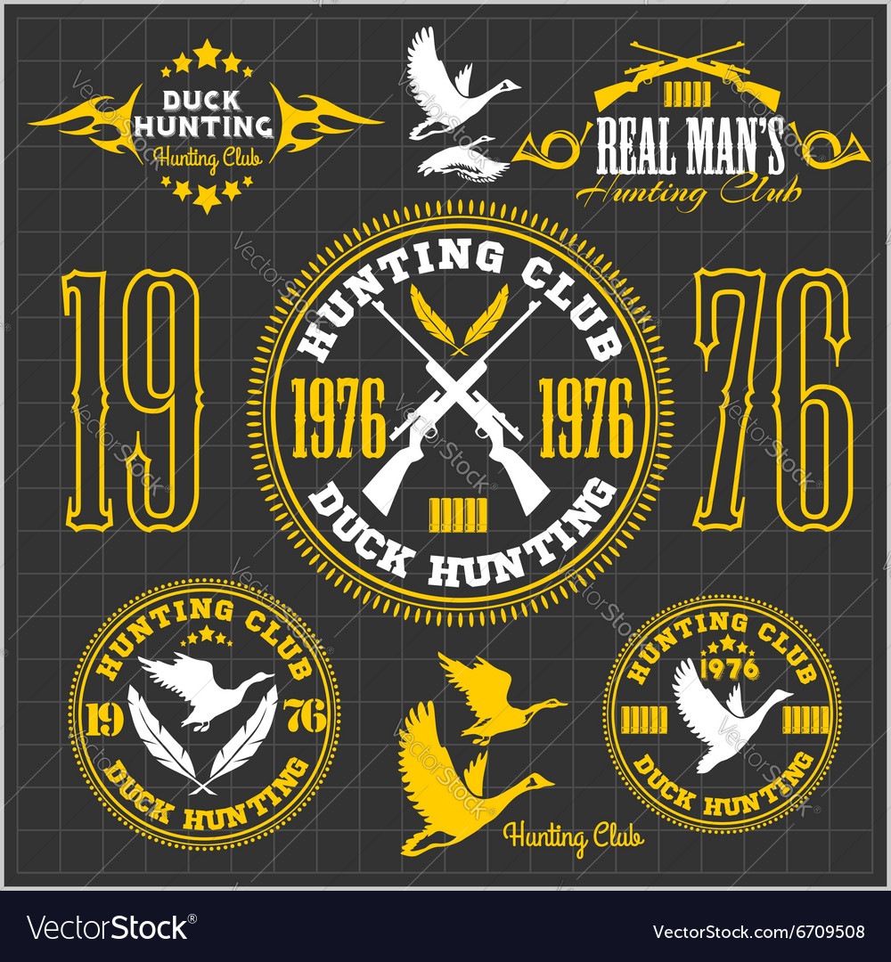Duck hunting  set for hunting emblem vector