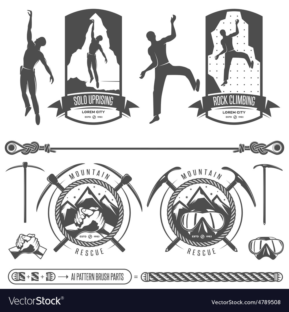Set of mountains and rock climbing emblems vector