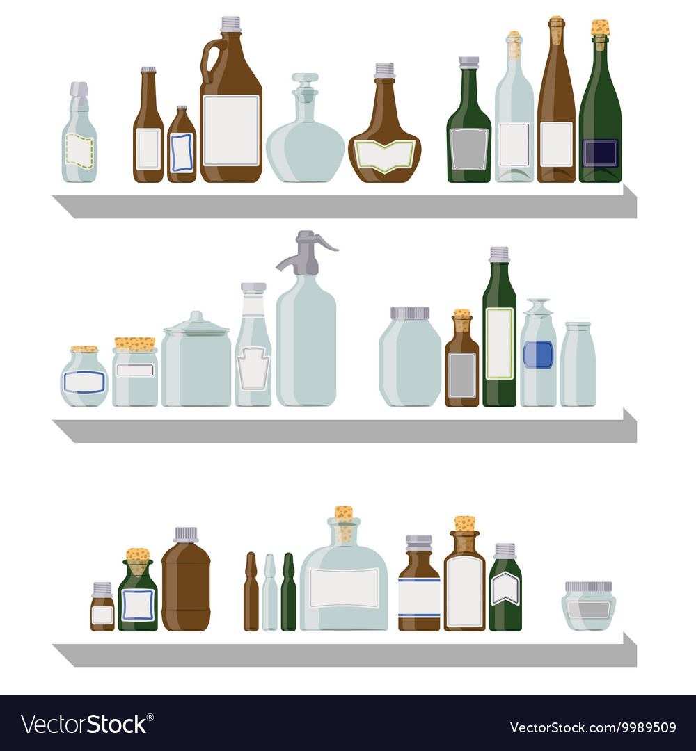 Bottles and jars vector