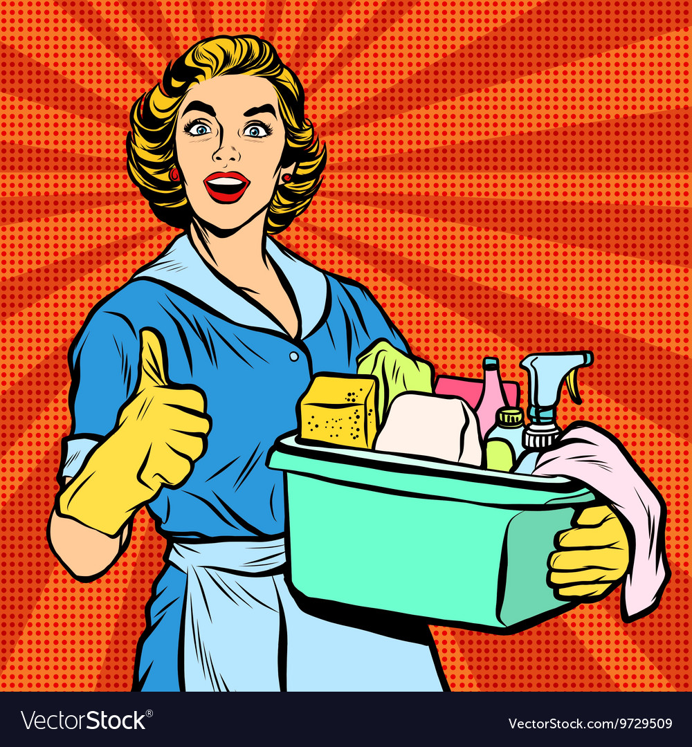 Quality home cleaning pop art retro housewife vector