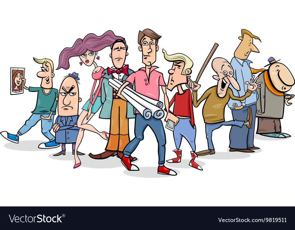 Cartoon people group vector