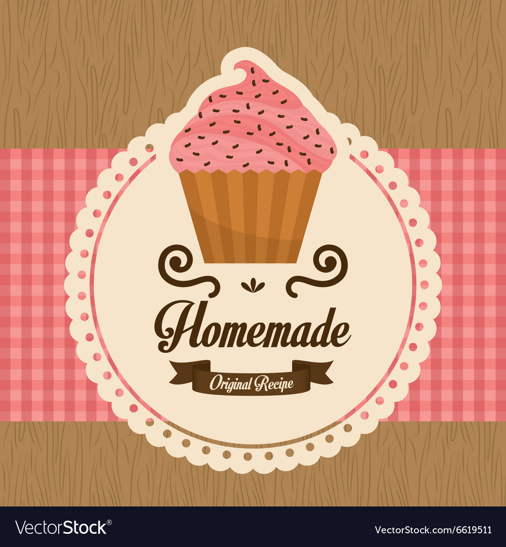 Homemade cupcake vector