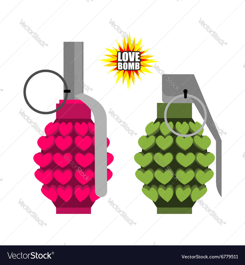 Love bomb hand grenade from hearts pink military vector