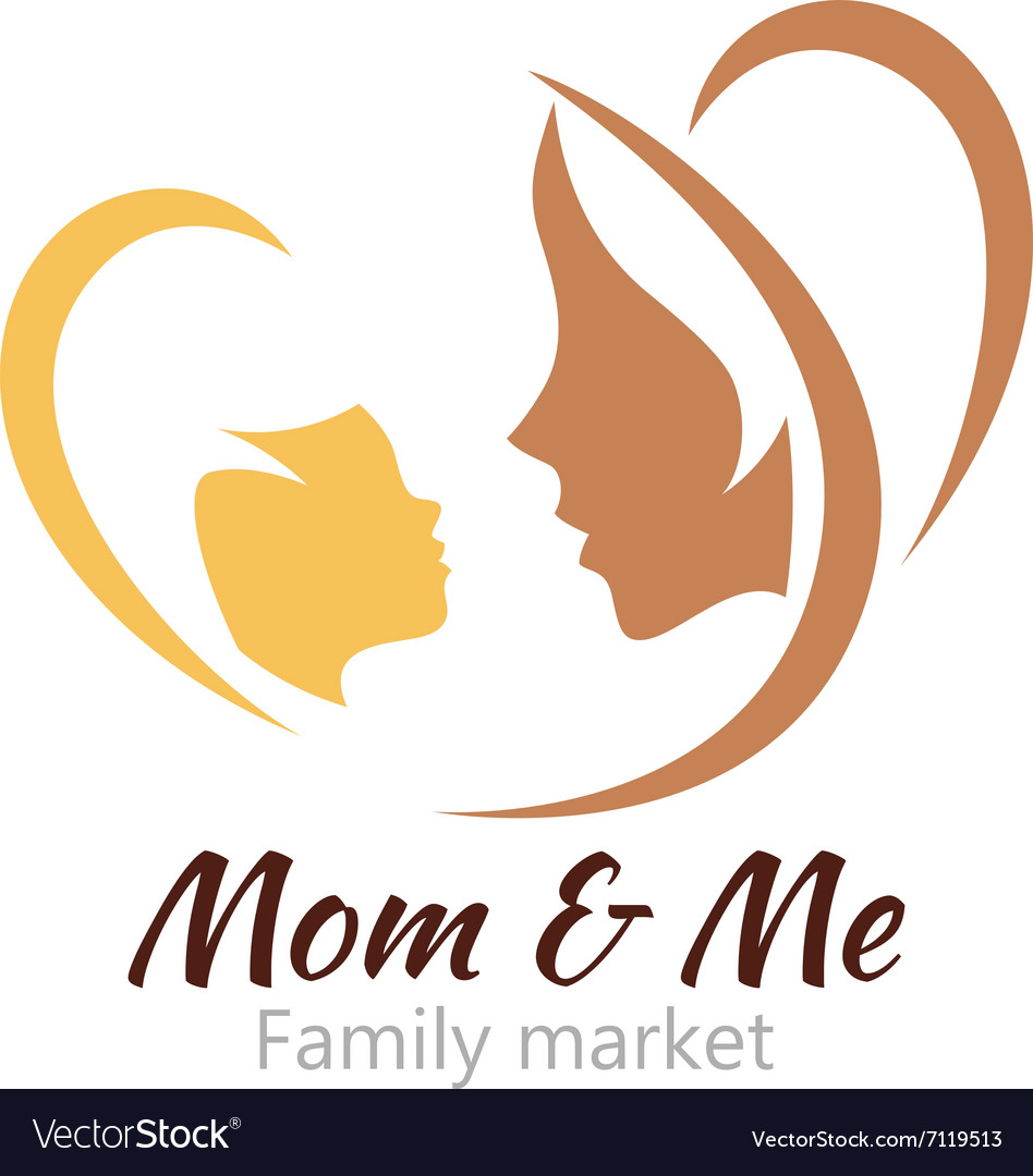 Logo mother and her baby healthcare or baby shop vector