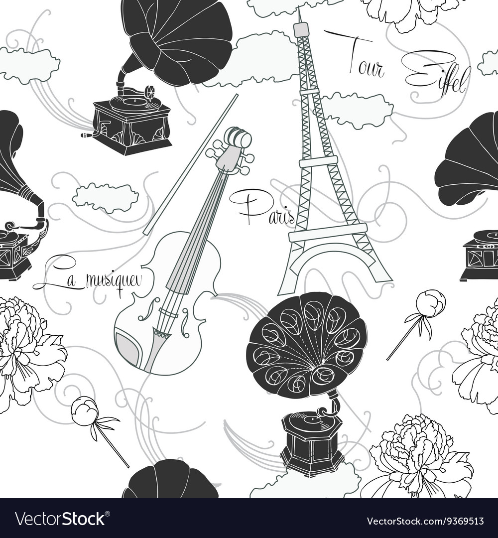 Seamless pattern with paris and music vector