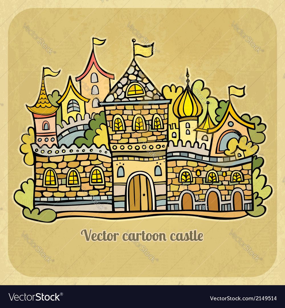 Cartoon fairytale castle vector