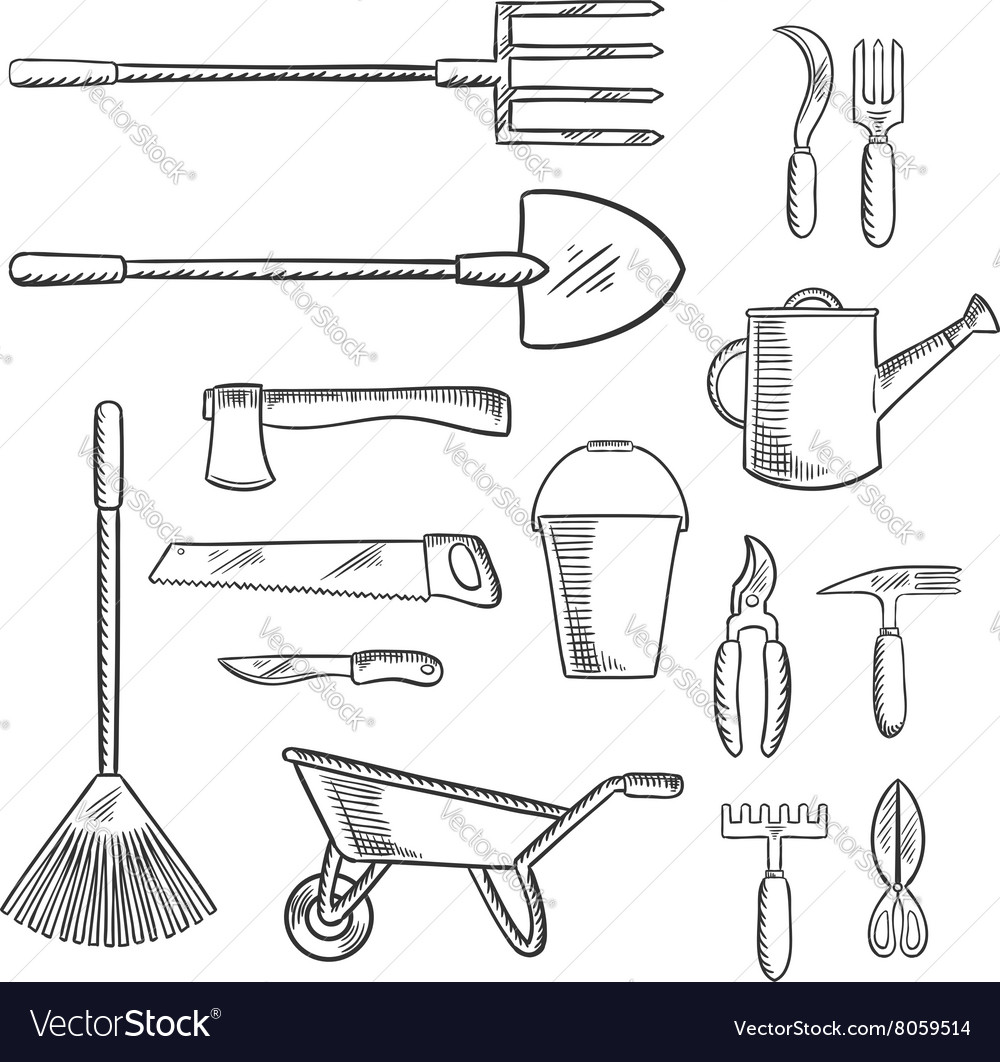 Gardening and agricultural tools icons vector