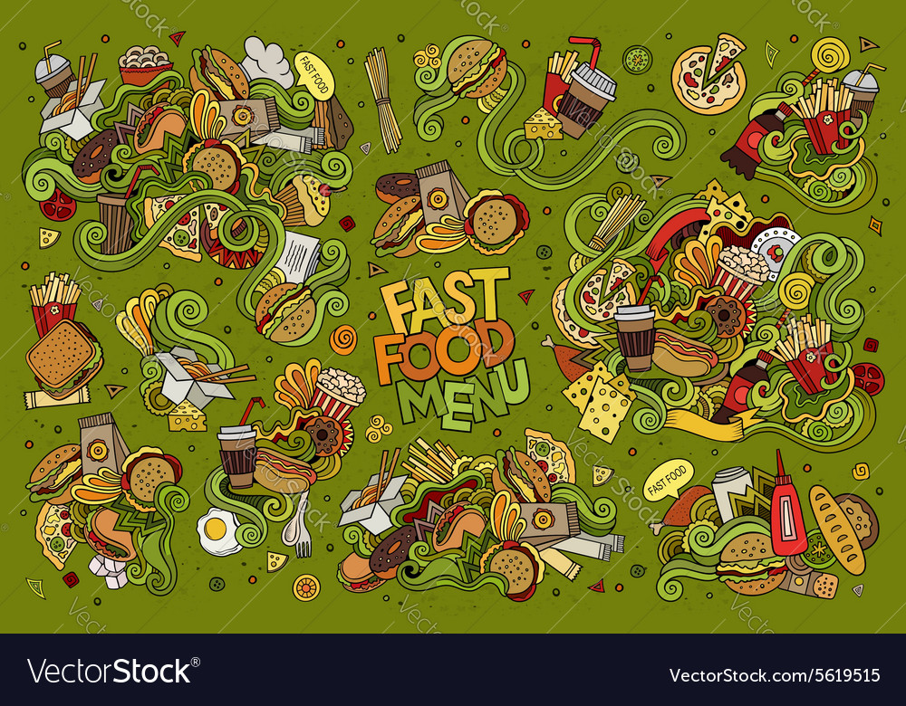 Fast food doodles hand drawn symbols vector