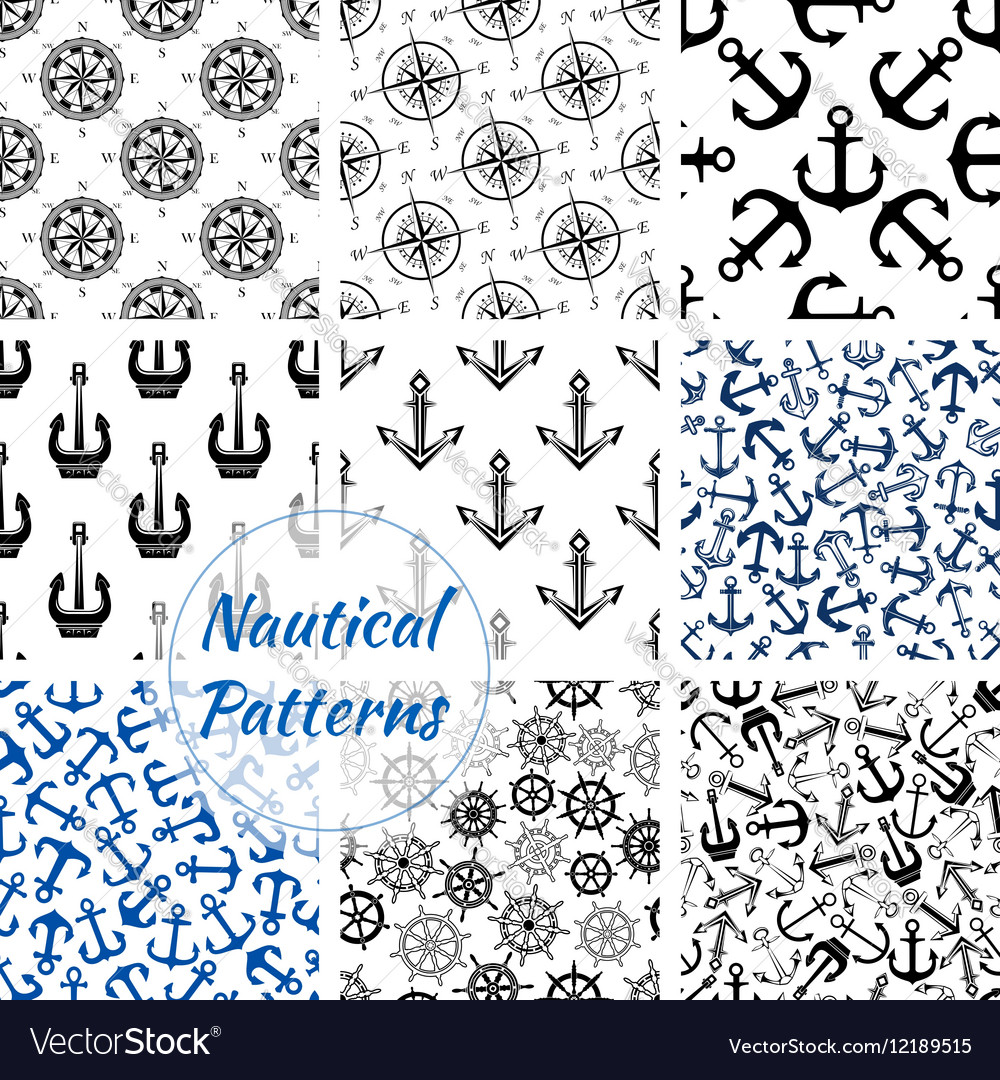 Nautical anchor helm compass seamless pattern vector