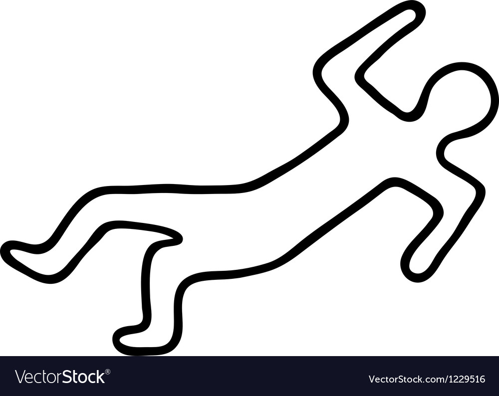 Chalk outline of a dead body vector
