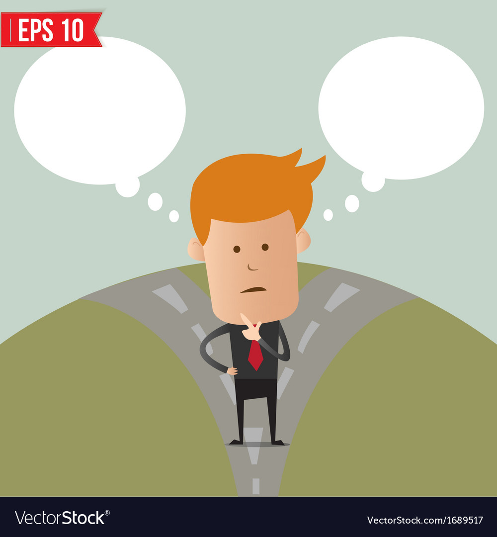 Business man thinking of choice   eps10 vector