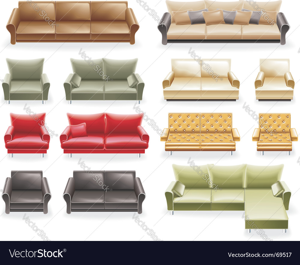 Furniture icon set sofas vector