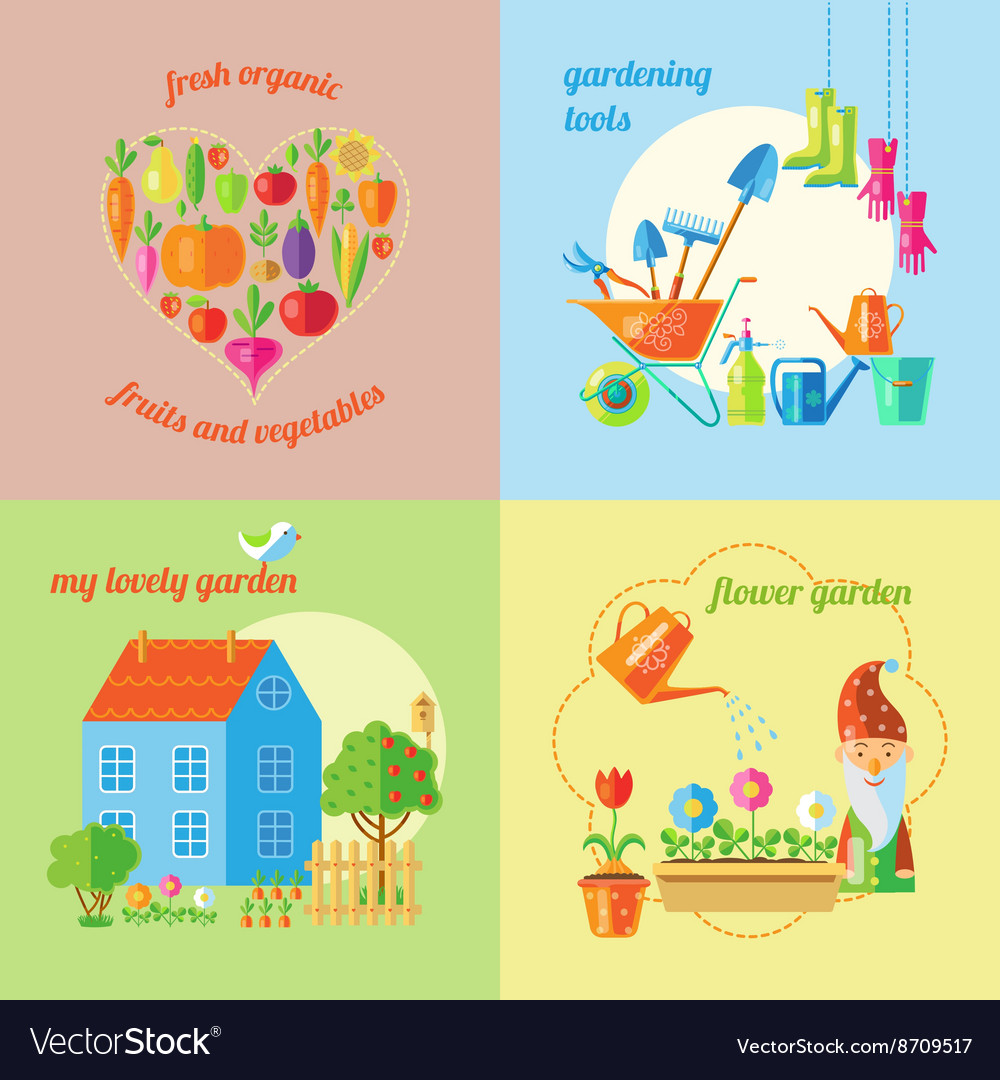 Garden isolated icon set vector