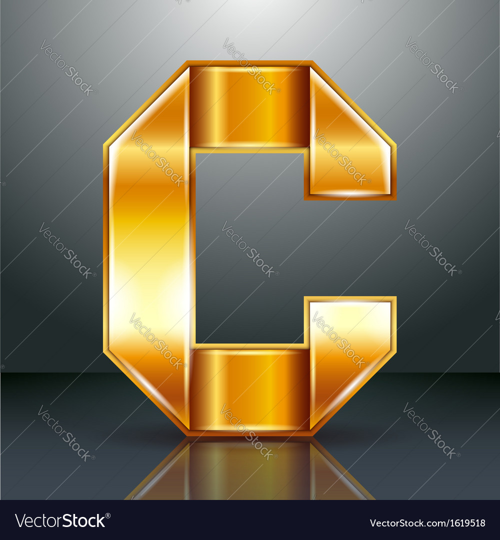 Letter metal gold ribbon  c vector